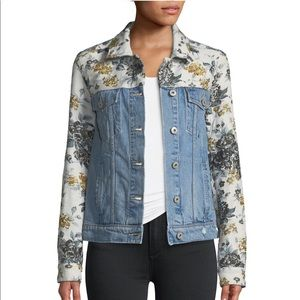 Button-Front Denim Jacket w/ Floral Embossing